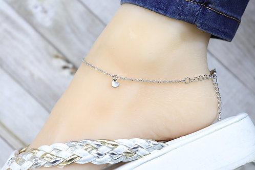 Anklet - Silver Heart Mini Charm