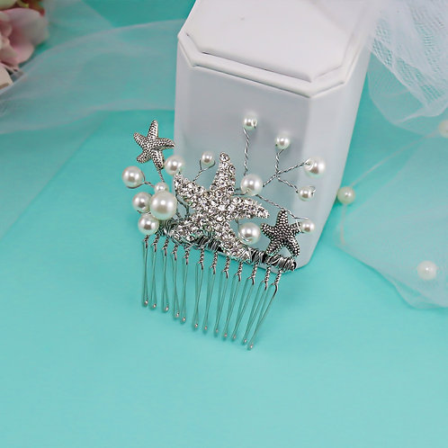 1 Left - 2 Inch Hair Comb Starfish Pearl