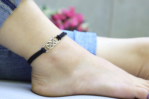 Anklet - Faux Suede Double Infinity