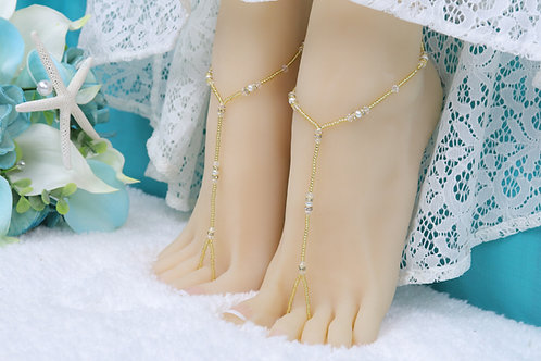 Anahita II - Gold Swarovski Barefoot Sandal