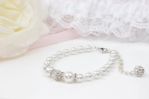 Bella II - Pearl Rhinestone Bracelet