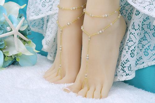 Anahita - Gold Swarovski Barefoot Sandal