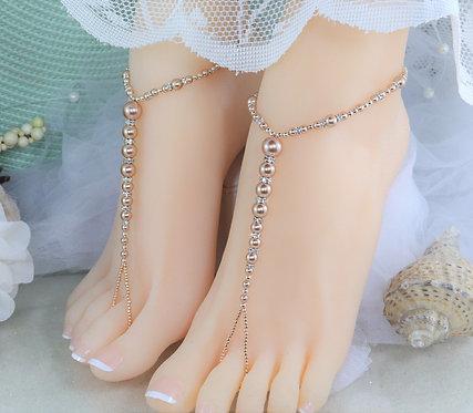 Annabelle - Rose Gold Swarovski Pearl Barefoot Sandal