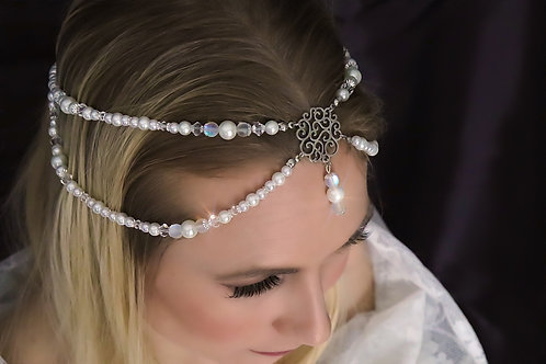 1 Left Nevaeh White Pearl Crystal Bridal Head Jewelry