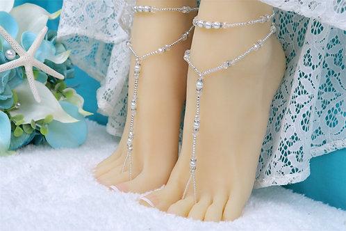 Nani - Silver Crystal Barefoot Sandal