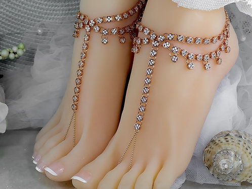 Cliona - Rose Gold Cubic Zirconia Barefoot Sandal
