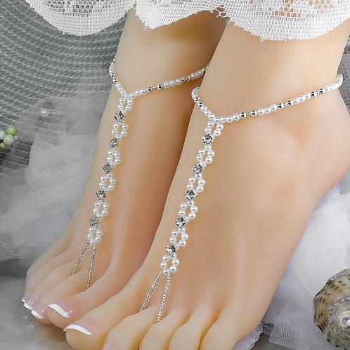 Serenity - Pearl Rhinestone Barefoot Sandal