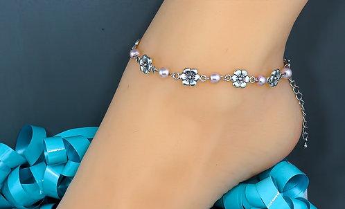 Light Pink Wholesale Silver Flower Anklet