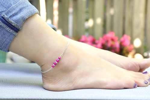 Anklet - Silver Chain Pink Pearl