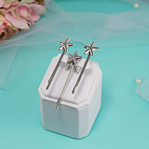 Hair Pins - 3 PC Silver Starfish