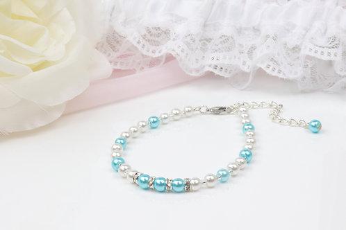 Lucy - Simple Silver Pearl Rhinestone Bracelet