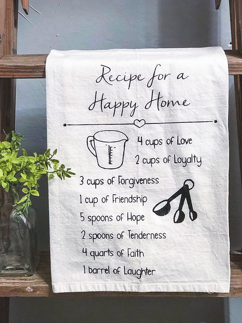 Recipe for a Happy Home - Hand Painted Towel