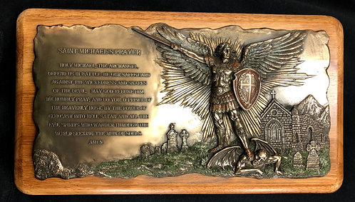 Saint Michael Wall Bronze and Wood Plaque