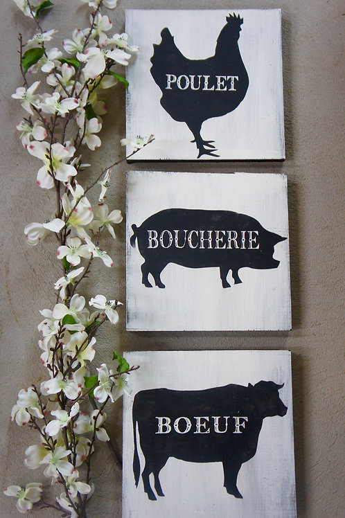 French Farm Animals - Hand Painted Sign