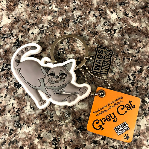 Grey Cat Keychain
