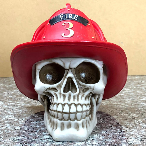 Skull wearing Firefighter's Hat