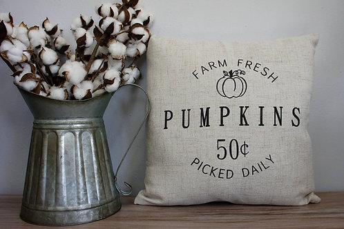 Farm Fresh Pumpkins - Hand Painted Decorative Pillow