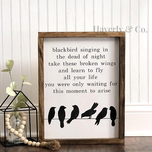 Blackbird by The Beatles - Hand Painted Sign