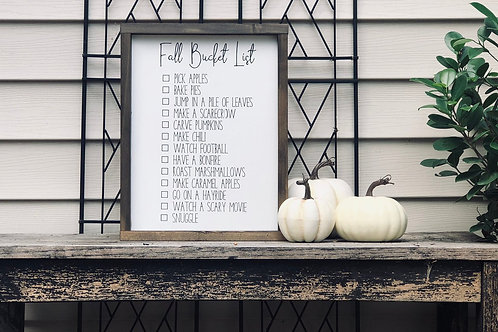 Fall Bucket List - Hand Painted Sign