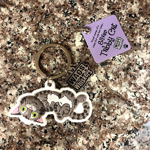 Silver Tabby Cat Keychain