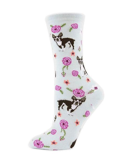 French Bulldog and Roses Socks