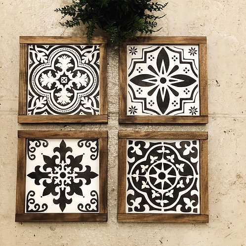 Set of 4 Spanish Tiles - Hand Painted Sign