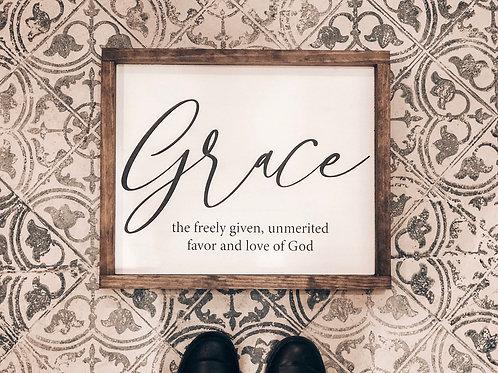 """Grace"" Definition Wood Sign"