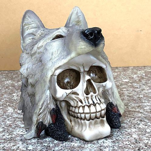 Skull with Grey Wolf Pelt Head