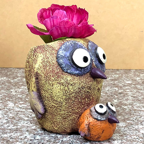Owl and Baby Owl Planter