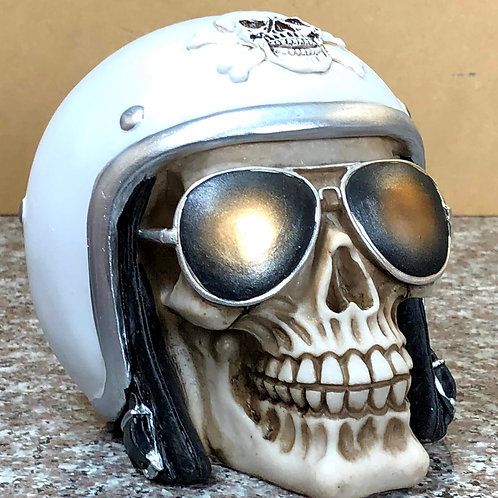 Skull with White Biker Helmet