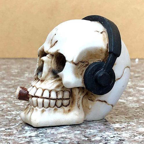 Skull Wearing Headphones Smoking a Cigar