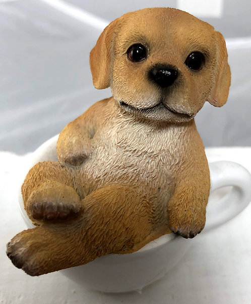 Small Yellow Labrador Retriever in a Tea Cup