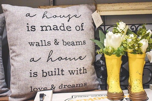 A House is Made of... A Home is Built With...- Hand Painted Decorative Pillow