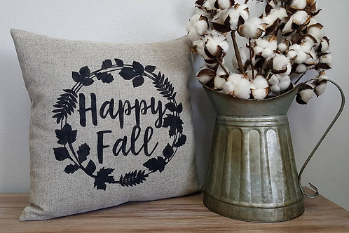 Happy Fall - Hand Painted Decorative Pillow