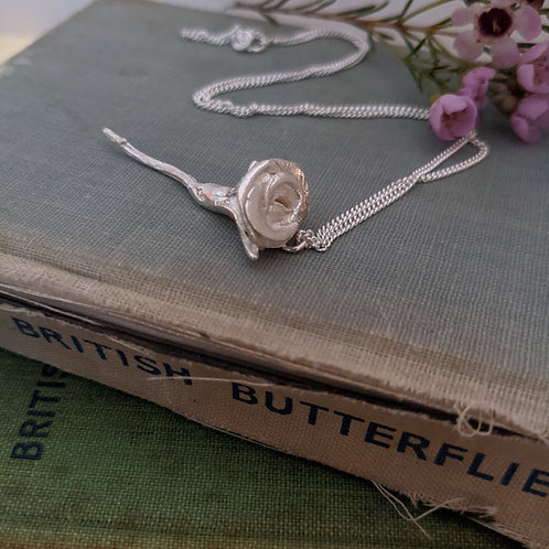 Single Rose Necklace - Silver
