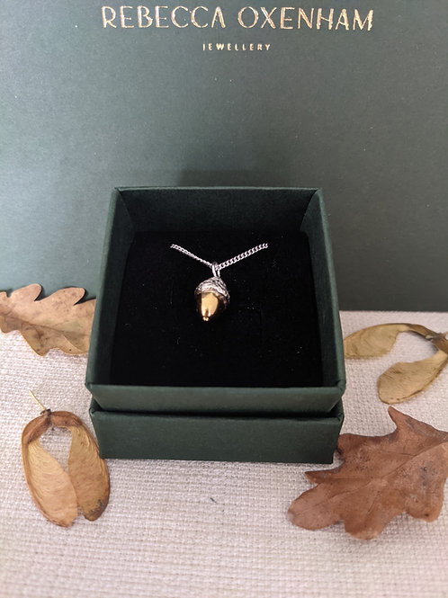 Acorn Necklace (Small) - Silver with Gold Plating