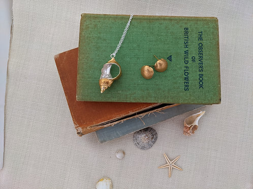 Whelk Pendant Necklace - Silver with Gold Plating