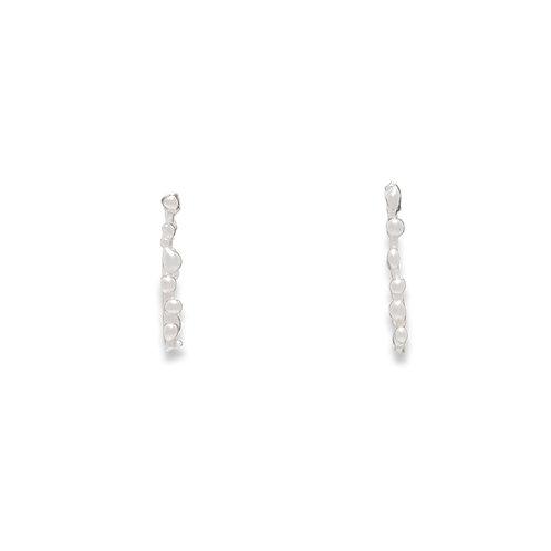 Sea Foam Line Earrings - Silver