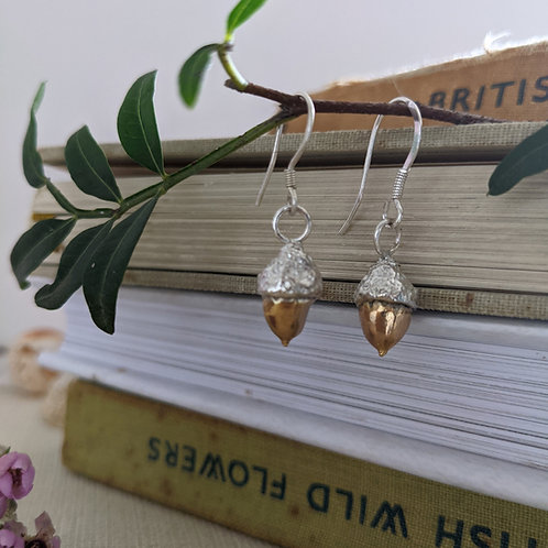 Acorn Drop Earrings - Silver with Gold Plating