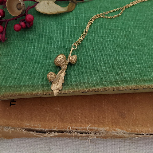 Acorn Buds Necklace - Gold Plated