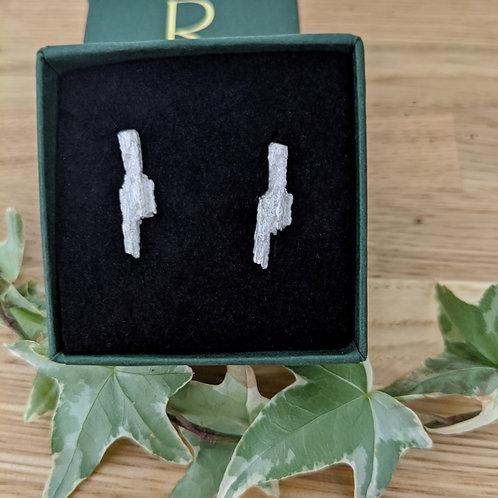 Tree Bark Earrings - Silver