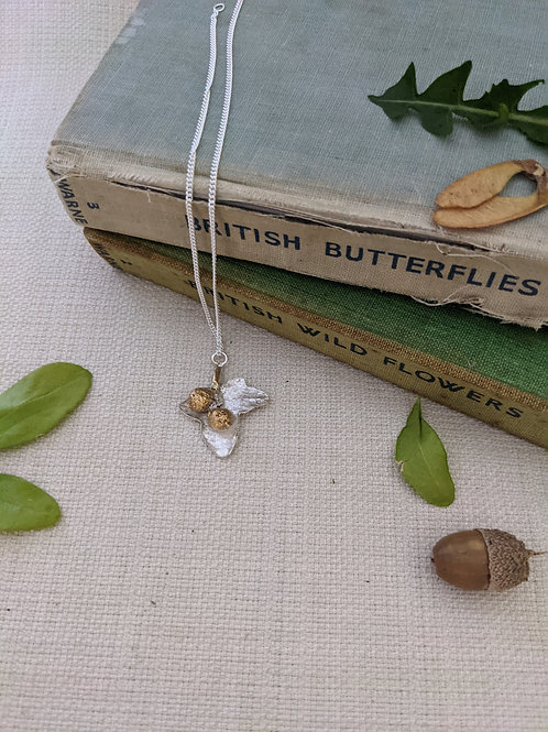 Ivy Leaf and Catkin Necklace - Silver with Gold Plating