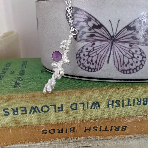 Gemstone Bud Necklace - Silver