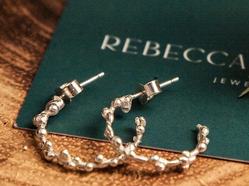 Sea Foam Small Hoop Earrings - Silver