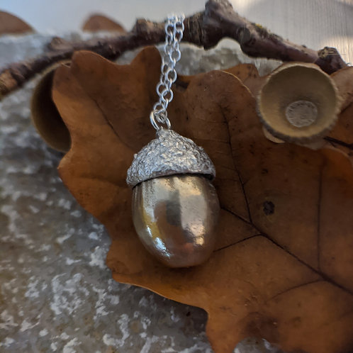 Silver and Brass Acorn Necklace
