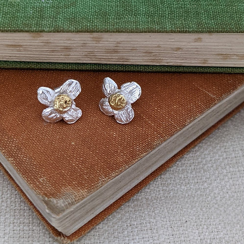 Apple Blossom Earrings - Silver with Gold Plating