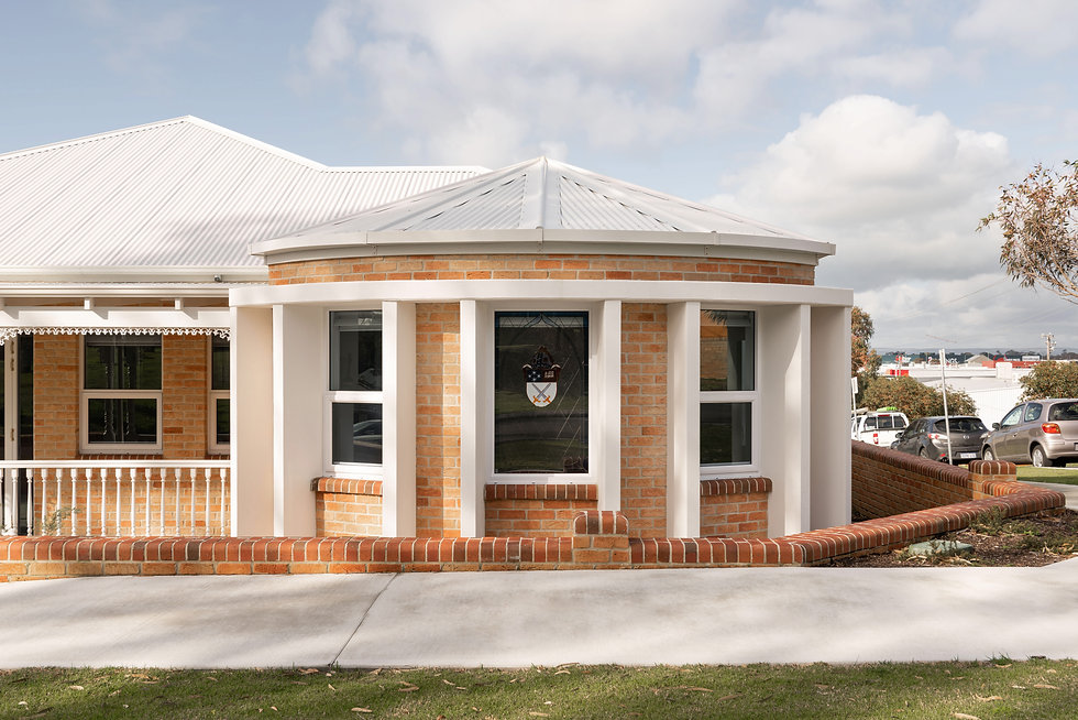 Bunbury Anglican Diocesan Office Building – Curved brick wall to the Bishop's Office