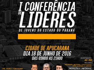 LÍDERES DE JOVENS DO PARANÁ SE REUNIRÃO EM APUCARANA-PR, DIA 18 DE JUNHO DE 2016.