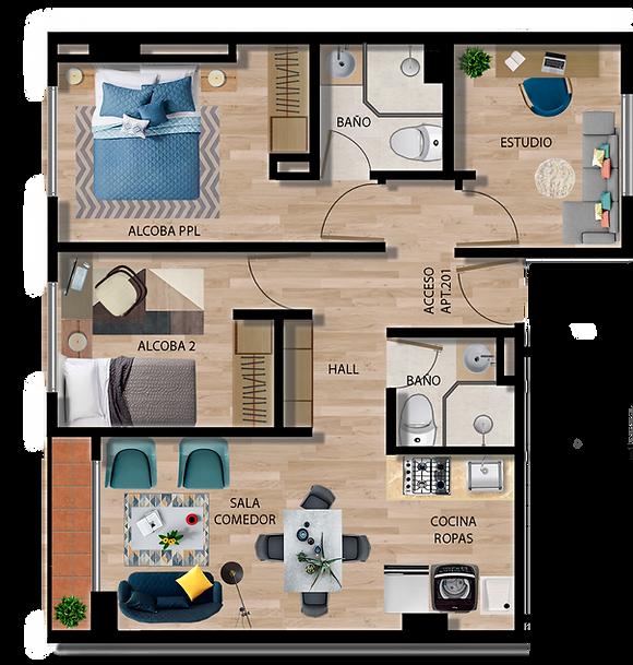 Apartamento tipo A urban 73 apartamentos