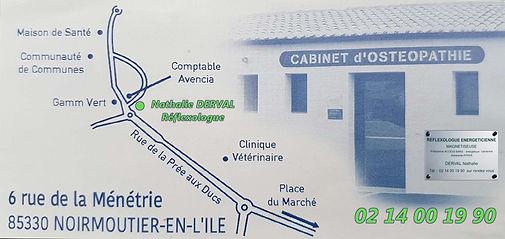 Plan Cabinet - Nathalie Derval - Réflexologue - 6 rue de la Ménetrie 85330 Noirmoutier-en-L'Ile